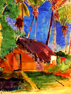 Thatched Hut under Palm Trees  By Paul Gaugui