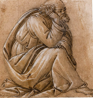 Sandro Botticelli Study For a seated St Joseth